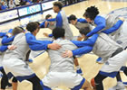 Basketball players in a huddle